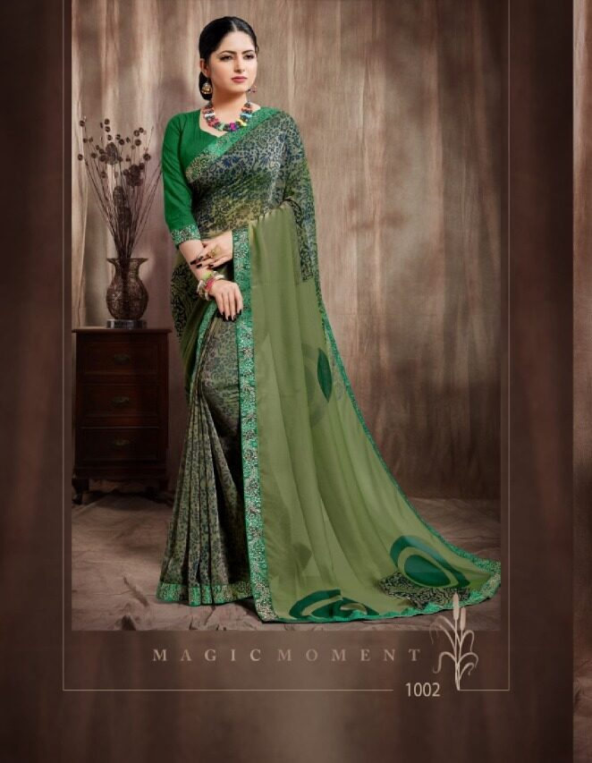 georgette saree with satin border