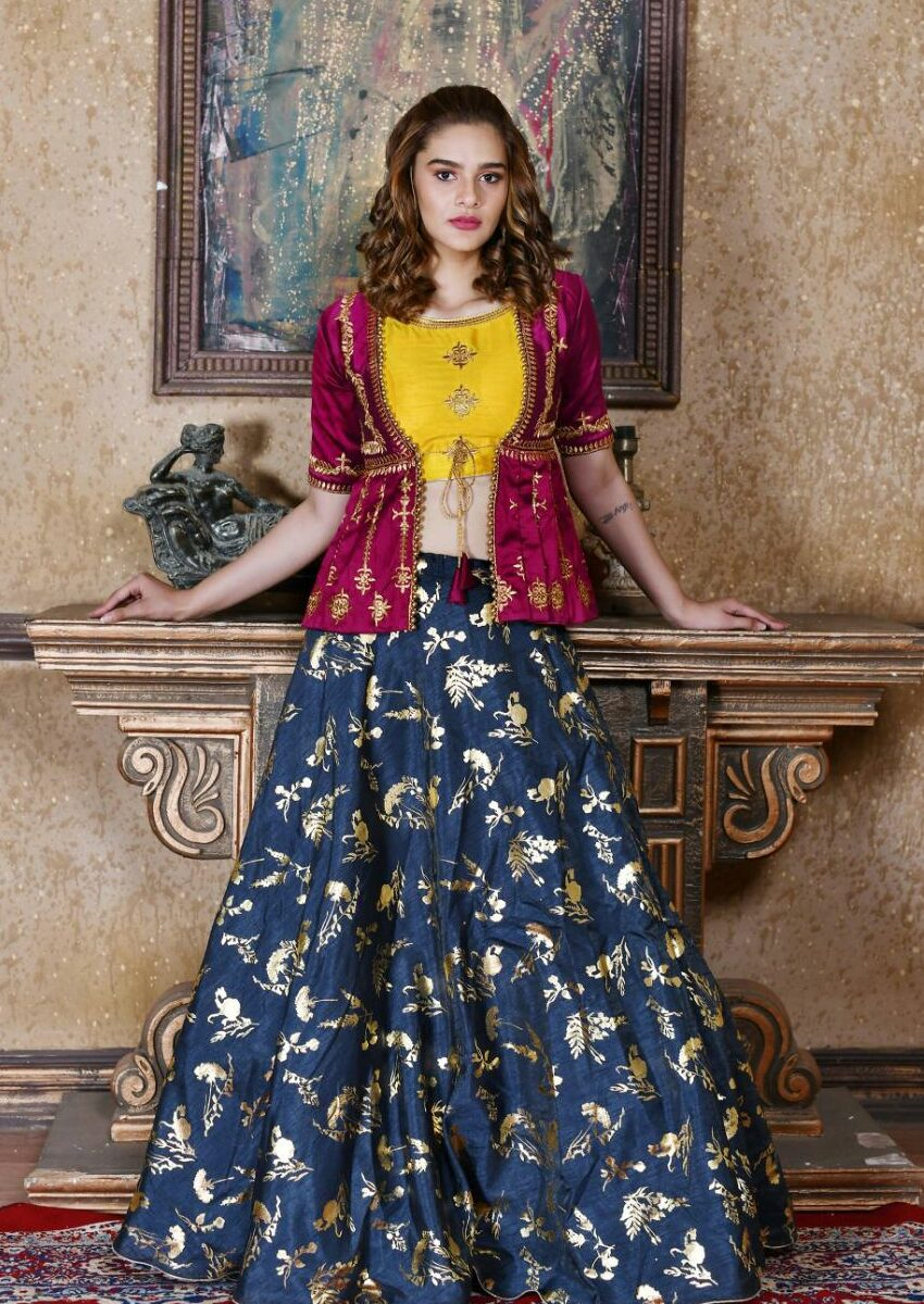 Designer Party wear lehngas in Maroon Choli with Blue Bottom