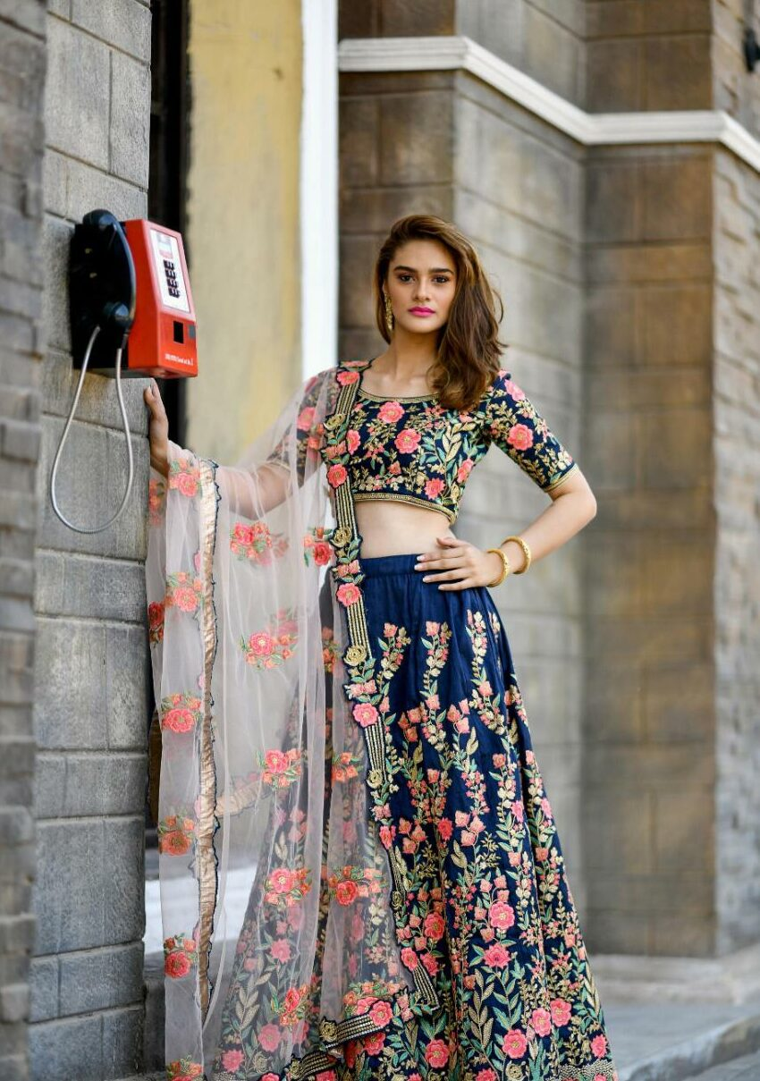 Designer Party wear Lehengas in Royal Blue with Heavy Blouse