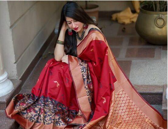 Digital Print Red Silk Saree with Price