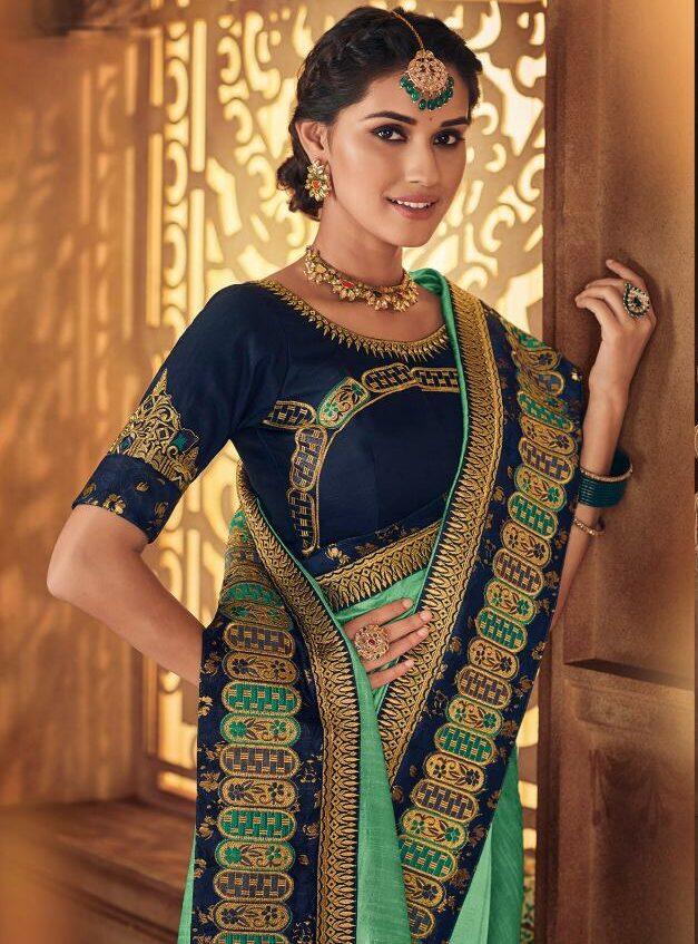 Designer Green Wedding Sarees with Designer Contrast Blouse