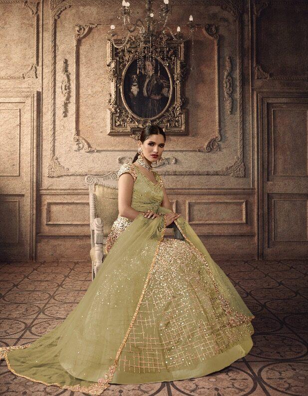 Light Green Colour Light Colour Lehenga For Bride