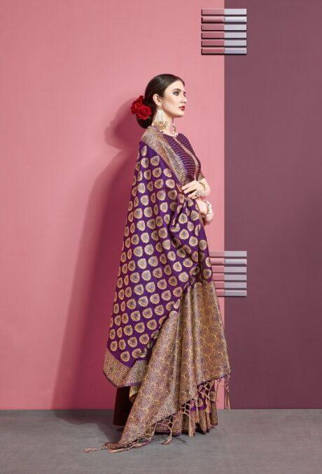 Purple Art Silk Designer Saree