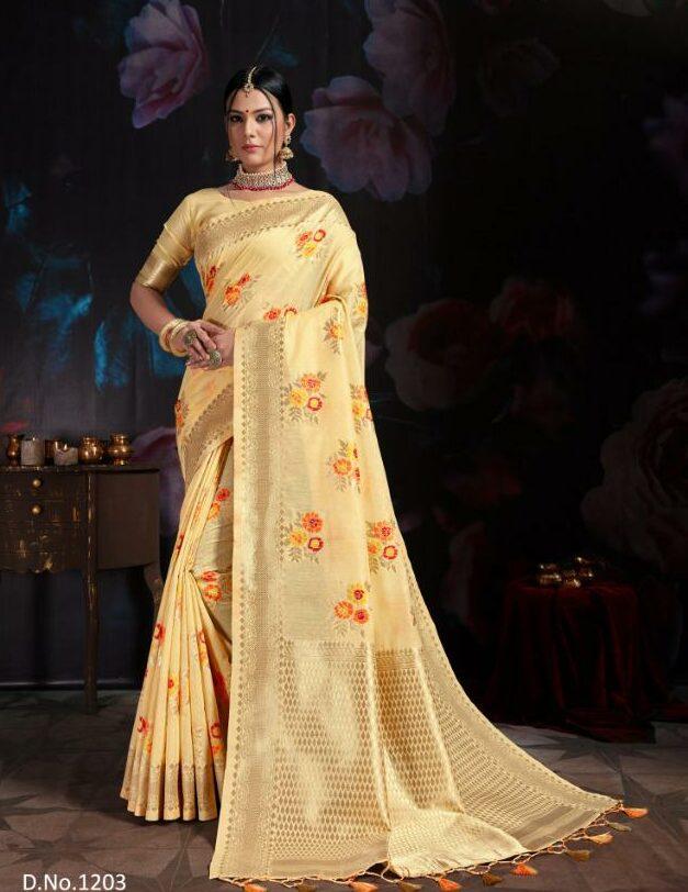 Baanarasi Cotton Saree in Light Yellow Colour