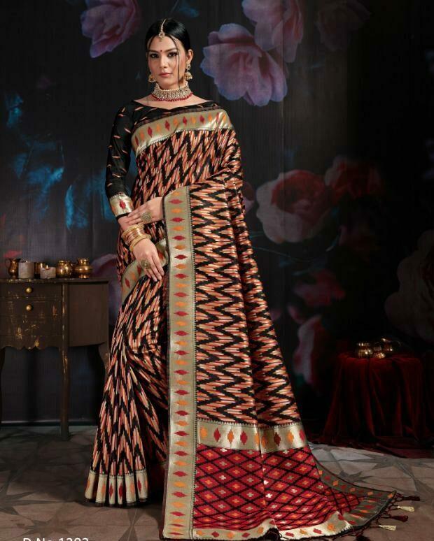 Digital Print Banaarsi Cotton Silk Saree