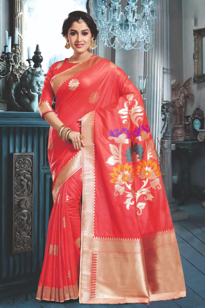 Digital Print Red Colour Saree in Silk