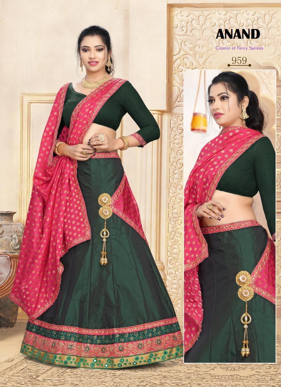 Green Colour Lehenga Style Saree Images