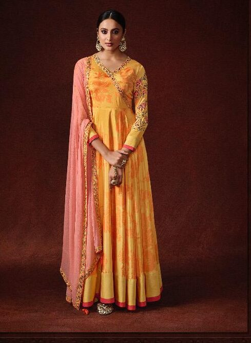 Latest Style Yellow Colour Party Wear Gown Girl