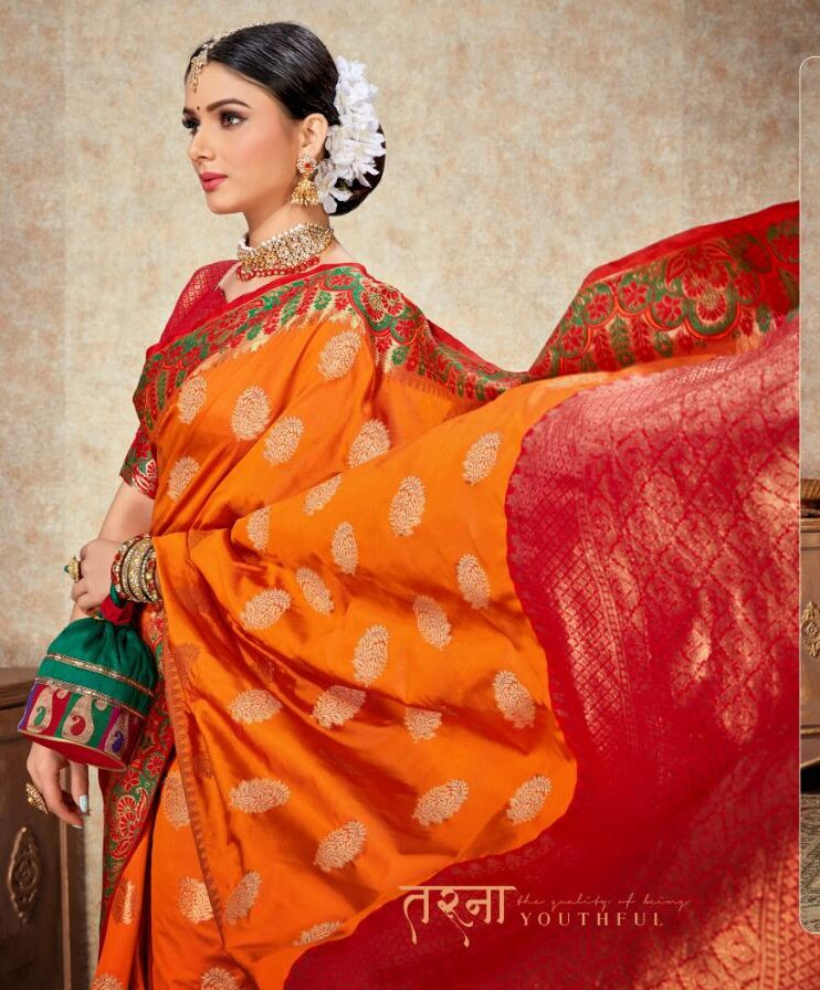 Orange and Green Combination Silk Saree