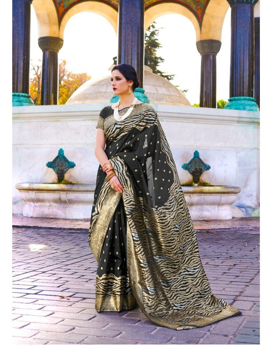 Polka Dot Designer Black Saree