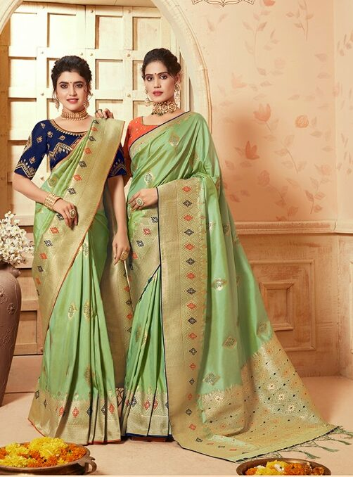Contrast Blouse for Green Silk Saree