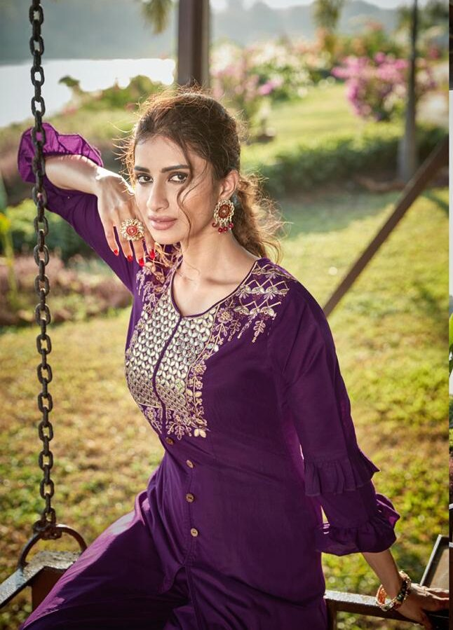 Dark Purple Palazzo Salwar Suits Emroidered with Double Umbrella Sleeves