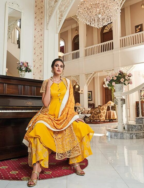 Designer Palazzo Pants with Long Kurta with Shrug