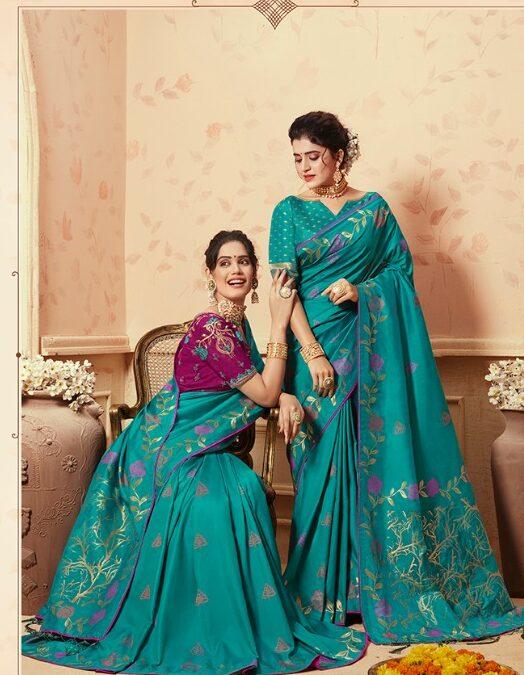 New Fashion Trendy Double Blouse Sky Blue Silk Saree