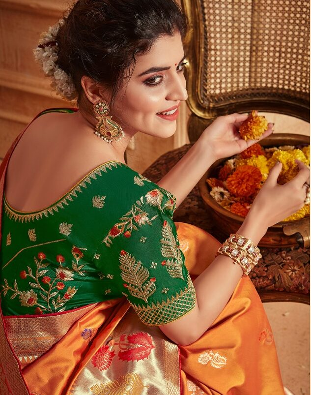 New Trends in Golden Silk Saree