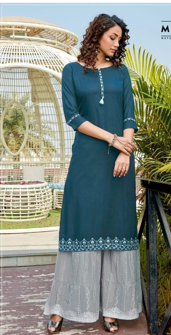 Blue Embroidered Kurtis Designs with Palazzo