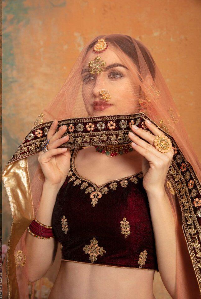 Bridal Lehenga Types in Maroon Colour