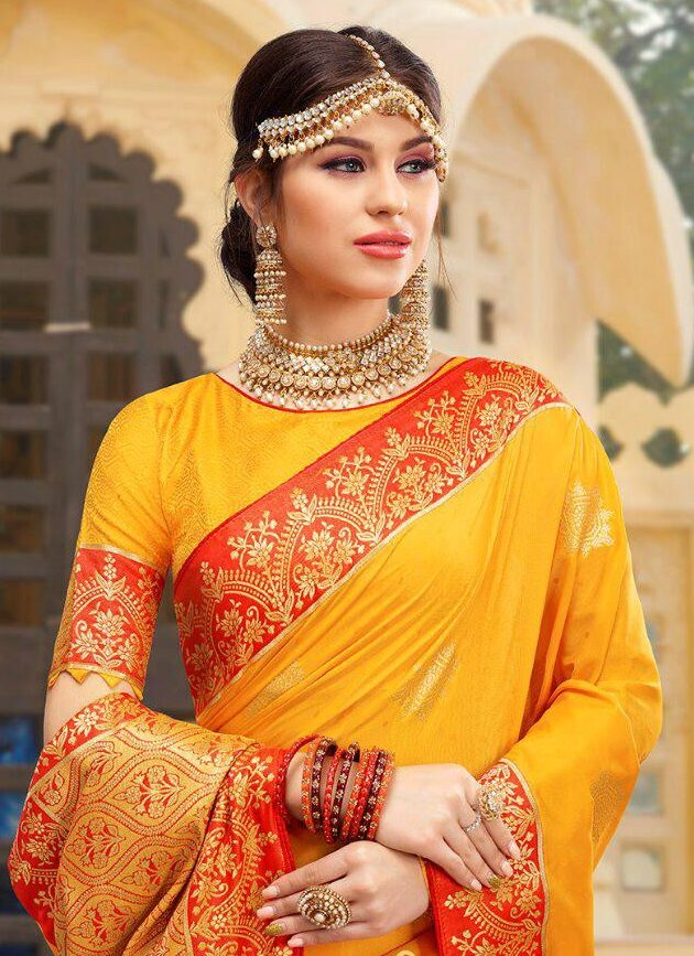 Haldi Function Yellow Colour Saree with Red Border