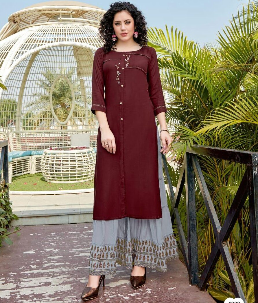 Maroon Colour Kurti With Palazzo Set Online
