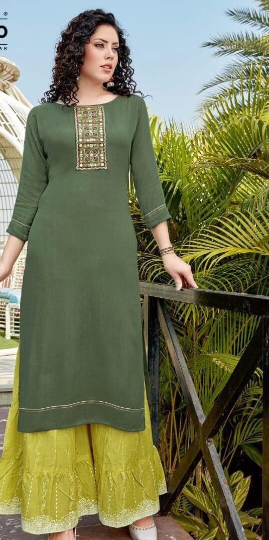 Olive Colour Punjabi Sharara Suit