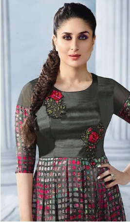 Short Embroidered Kurti in Black