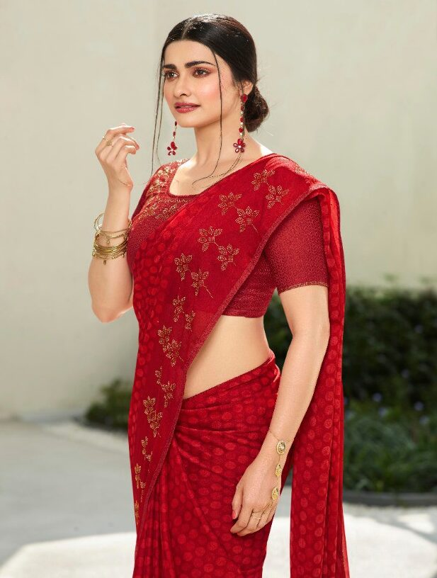 Diamond Work Red Saree