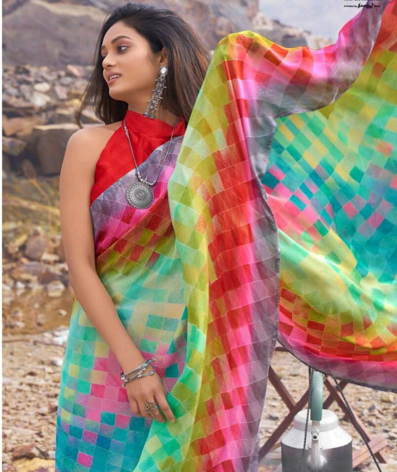 Digital Print Block Print Designer Saree