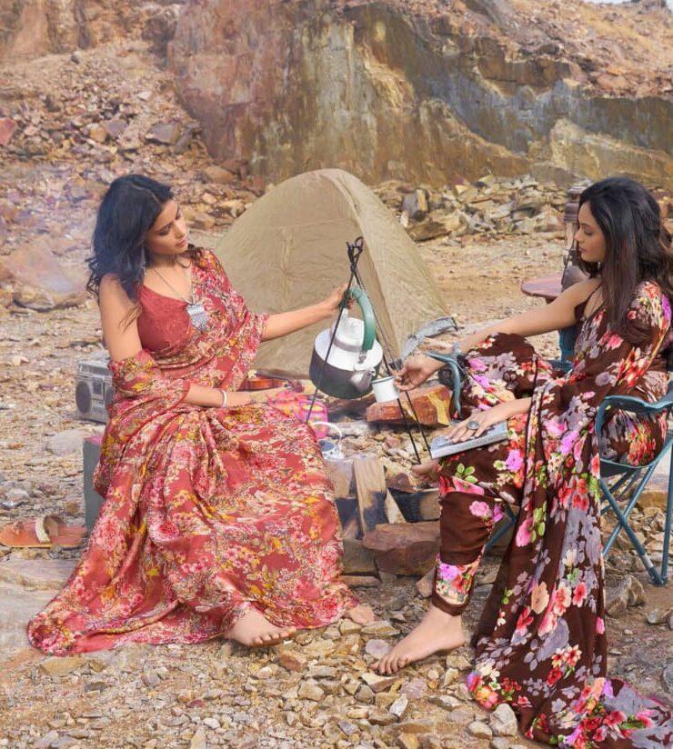 Duo Designer Floral Print Sarees
