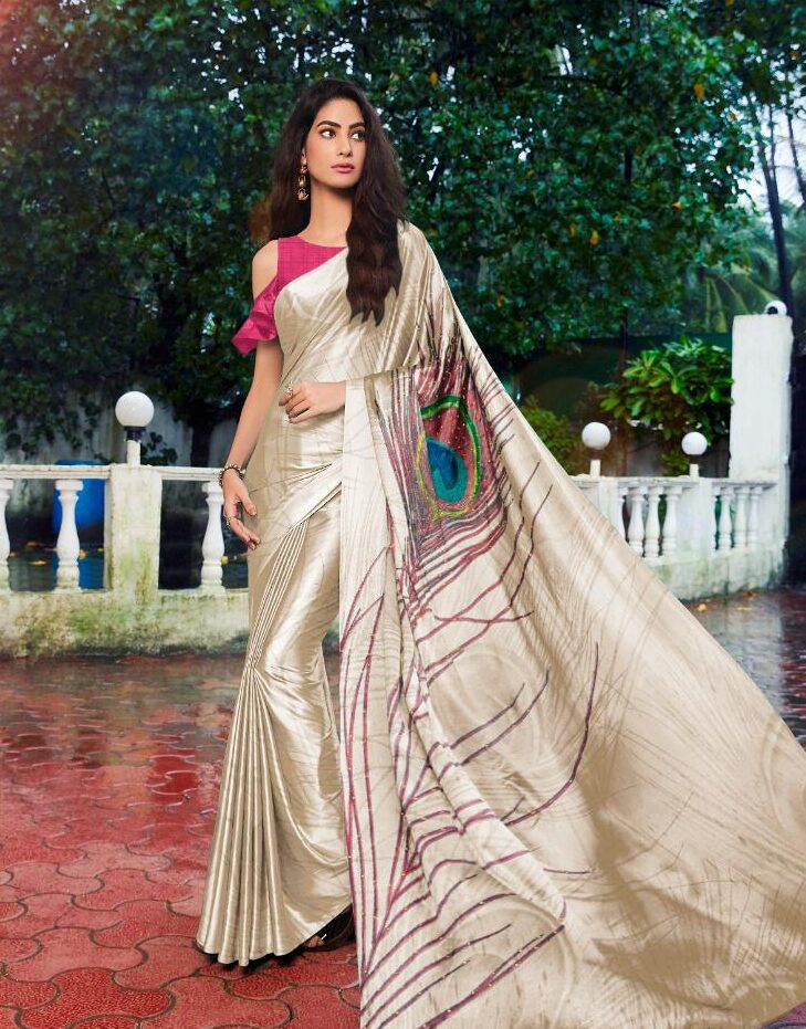 Morpankhi Designer Satin Silk Saree with Contrast Ruby Colour Blouse