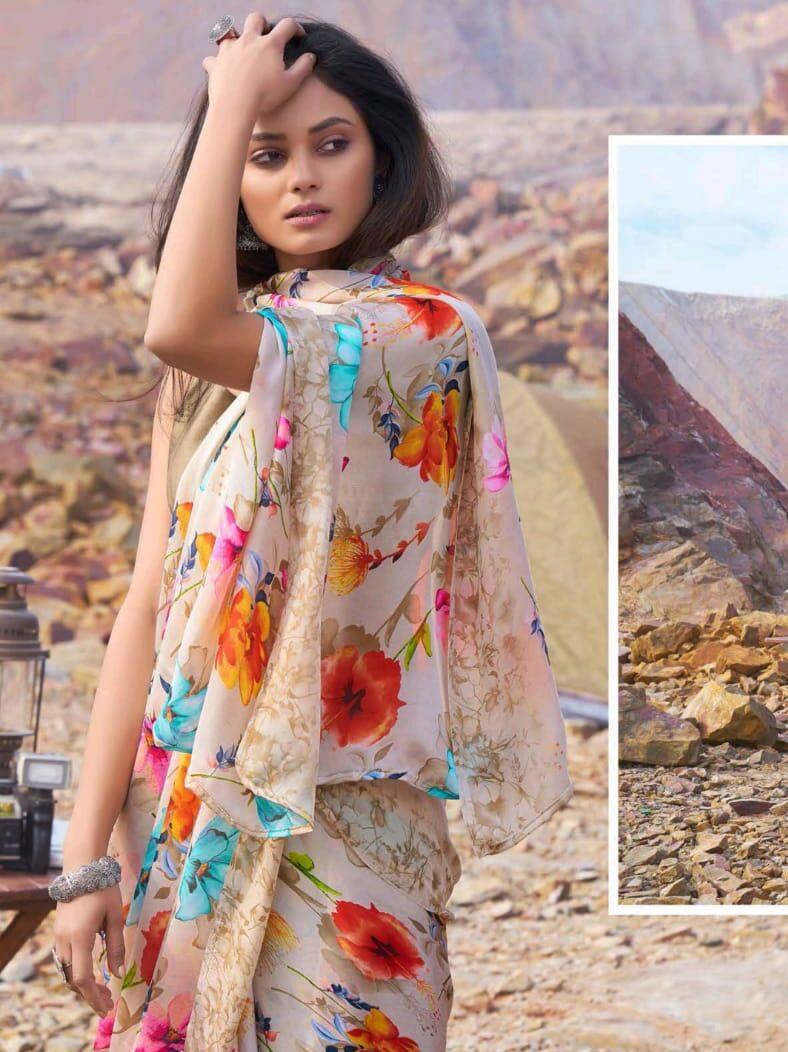New Look Designer Satin Silk Floral Print Saree