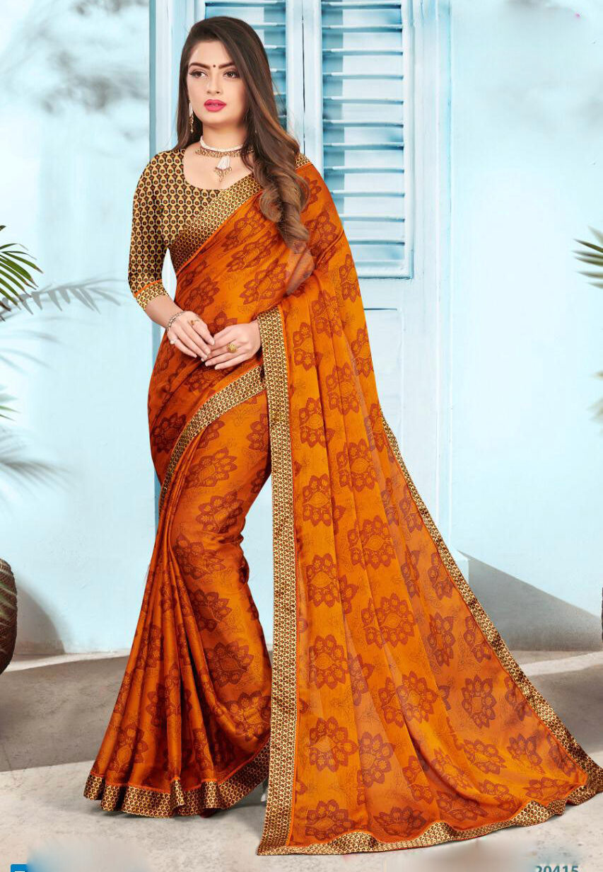 Turmeric Colour Designer Satin Saree with Golden Border
