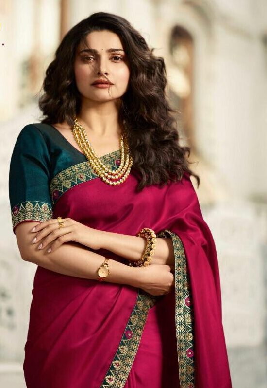 Dark Red Designer Saree With Contrast Blouse