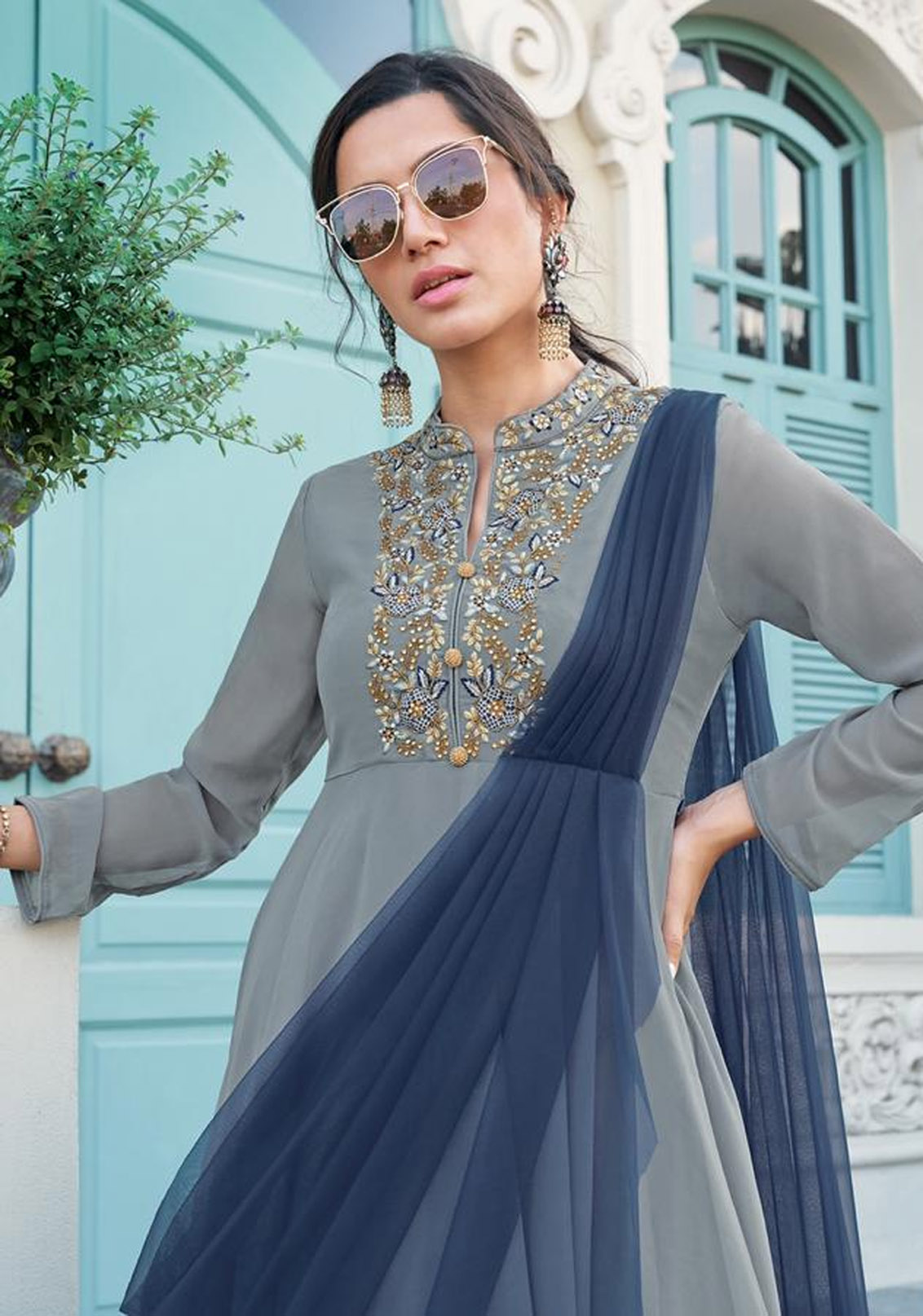 Slate Colour Designer Party Gowns Online India