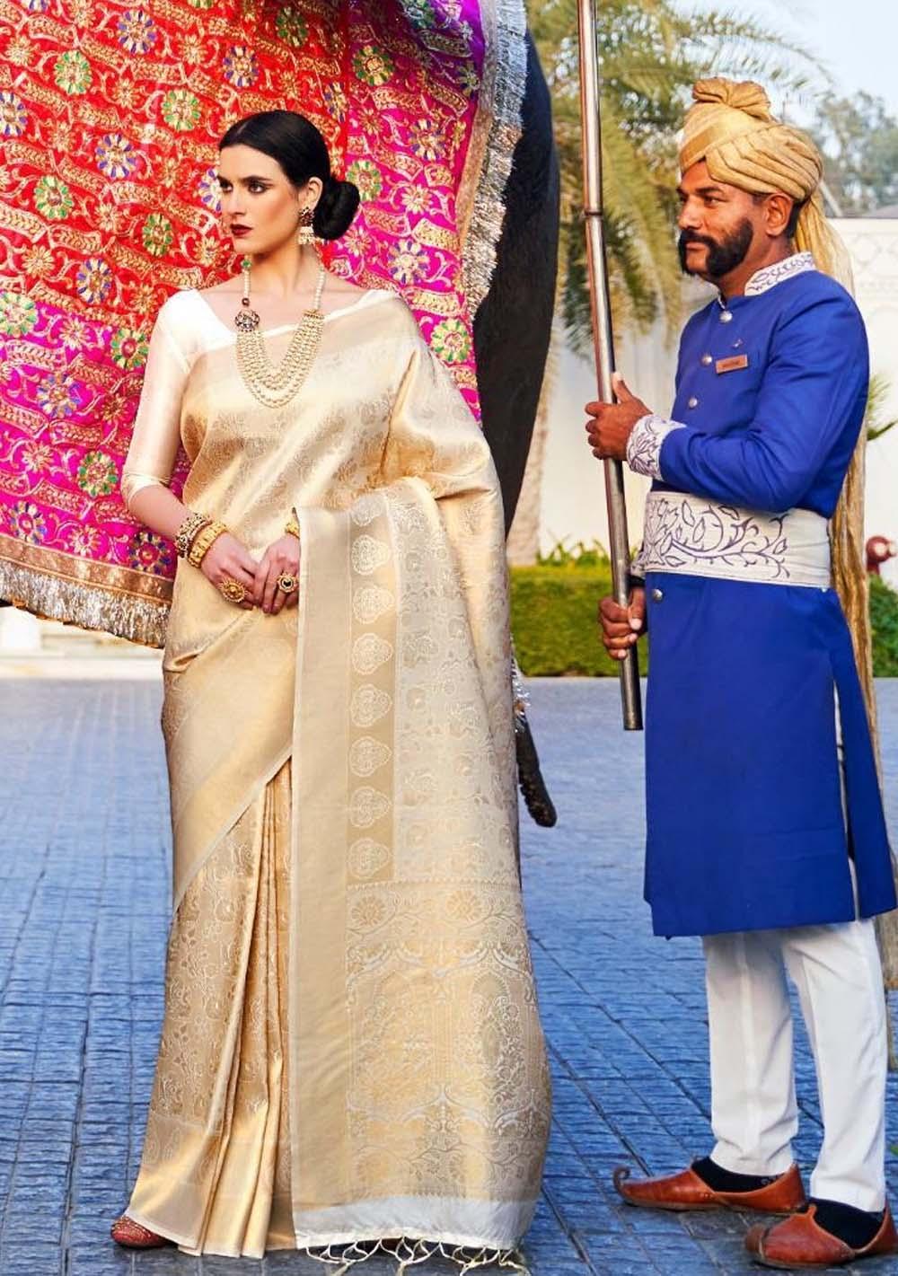 Bridal Cream Colour Saree