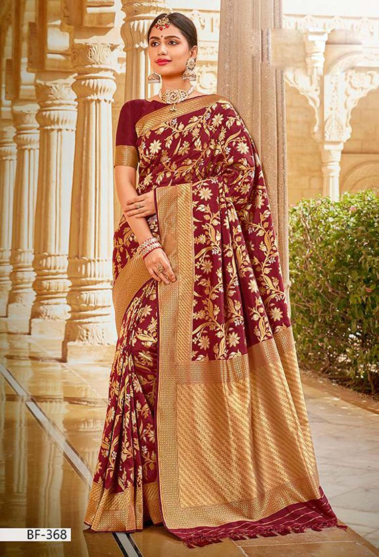 Coffie Colour Latest Pure silk Sarees with Price