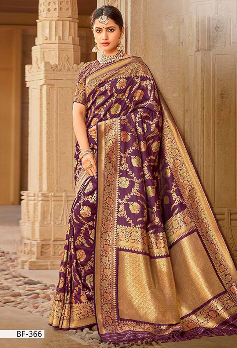 Dark Purple Silk Saree Flower Print Reception Saree