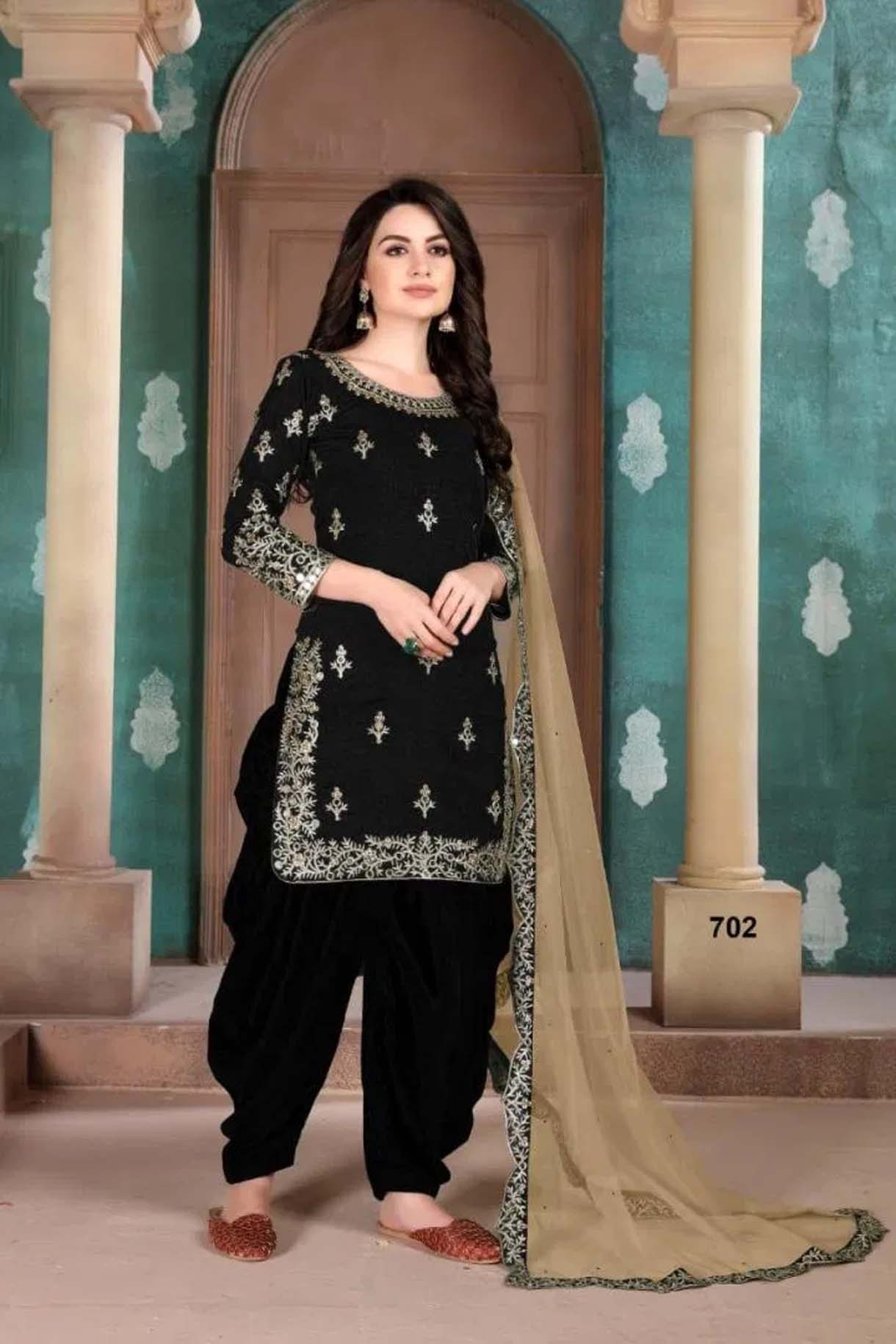 Latest Black Patiala Suit for Wedding