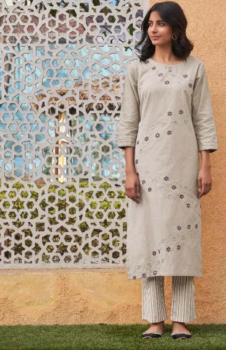 Latest Designer Sleeves Off White Kurtis with Plazo Set