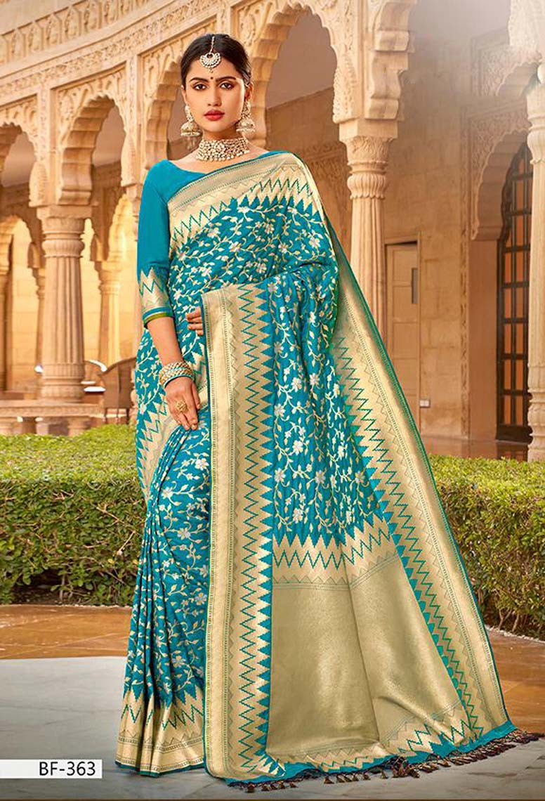 Sky Blue Silk Saree with Golden Border for Wedding