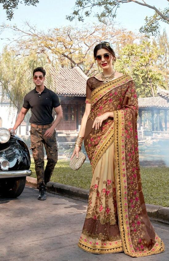 Almond Colour Designer Saree for Wedding Party
