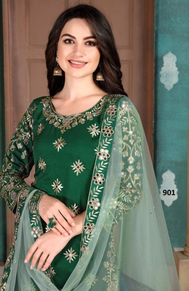 Best Glossy Green Color Patiala Suit