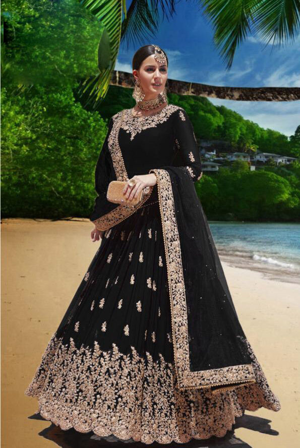 Black Color Party Wear Gown With Girls