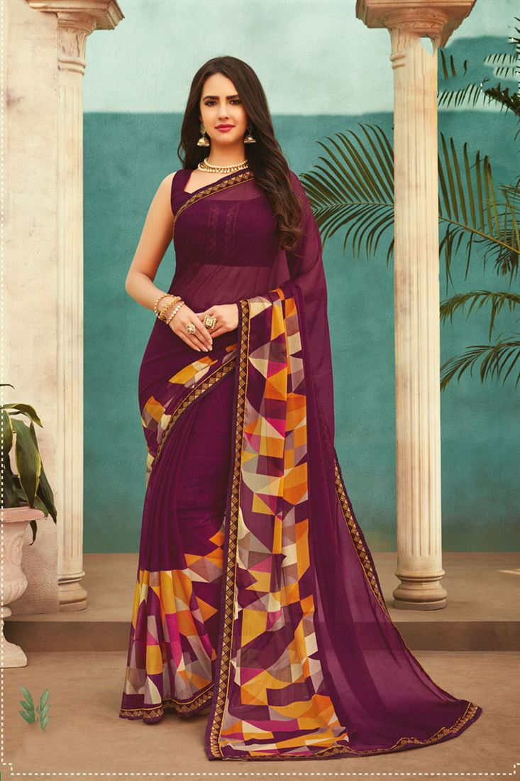 Chiffon Printed Wide Border Daily Wear Saree in Plum Colour