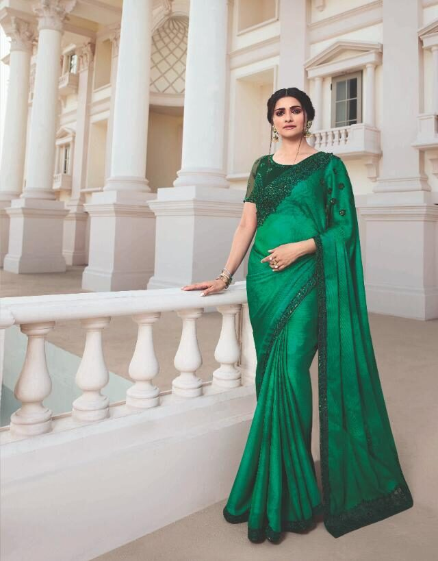 Designer Embroidered Emerald Green Color Saree for Engagement