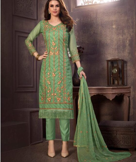 Embroidered Green Salwar Suit Combination