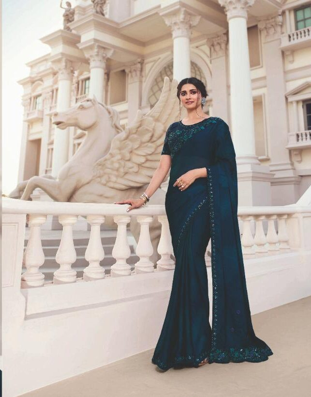 Embroidered Plain Pure Chiffon Sarees with Designer Blouse