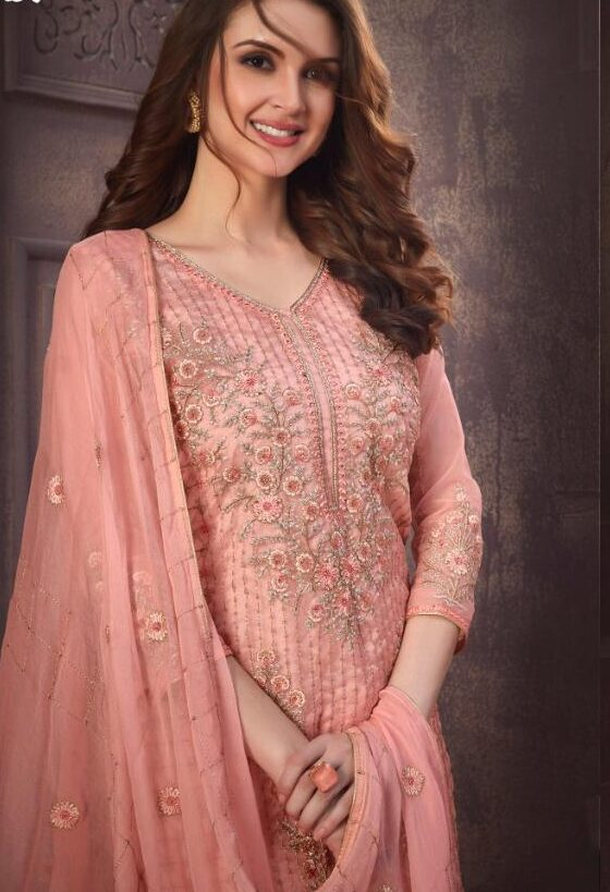 Embroidered Royal Essence of mistyrose Salwar Suit for Wedding