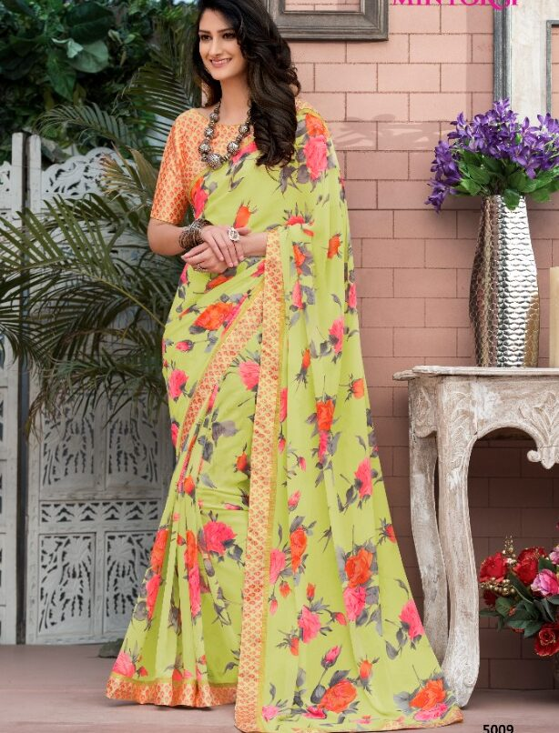 Floral Printed Designer Georgette Formal Saree Look for Office