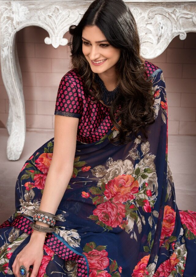 Floral Printed Pure Georgette Saree with Contrast Designer Blouse