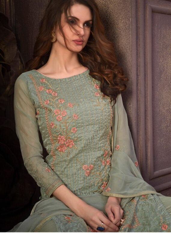 Fully Embroidered Contemprary Sea Green Suit Combination